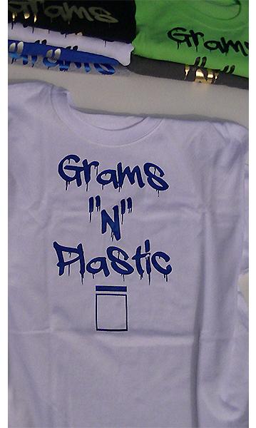 grams n plastic white t shirt with metallic blue lettering